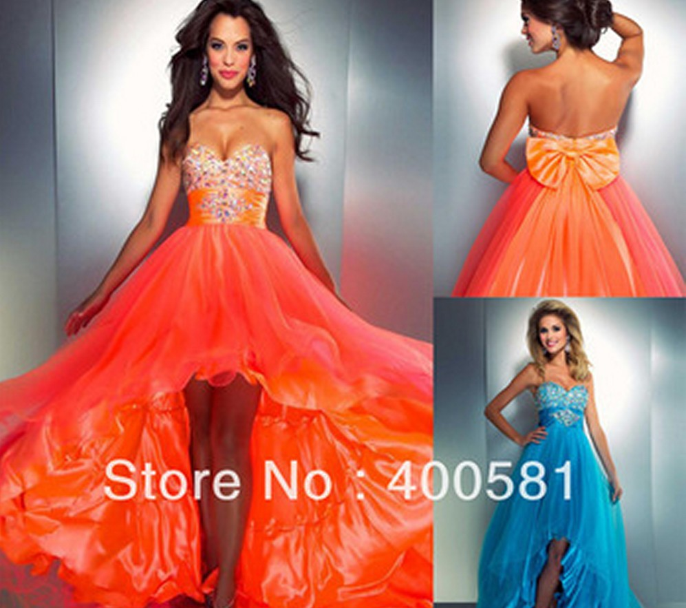 Pretty Girl 2014 Newest Sweetheart High Low Beaded Stones Waist Bow Back Orange Turquoise Short Front Long Back Prom Dress Gown-in Prom Dresses from Apparel & Accessories on Aliexpress.com