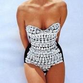 swimwear,jeweled,one piece,one piece swimsuit,black jewelled