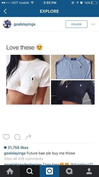 shirt ralph lauren grey white black crop tops cropped hoodie cropped sweater