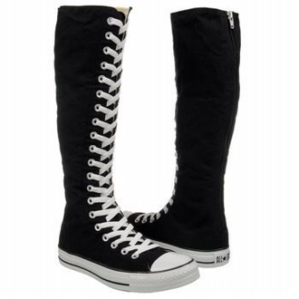 shoes knee high black converse  rainbow laces