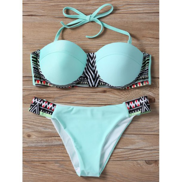 swimwear blue mint fashion bikini summer beach sexy rose wholesale