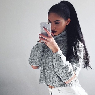 sweater grey girly cute fluffy knit grey sweater cute sweaters knitted sweater heavy knit jumper dope style ponytail instagram sweatshirt