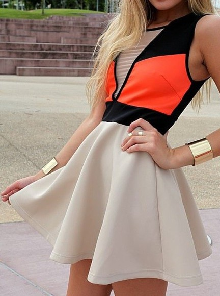 colorblock dress dress beige dress coral dress summer dress color block nude orange black jewels nude dress pop of color neon dress short dress skater dress neon orange beige skirts