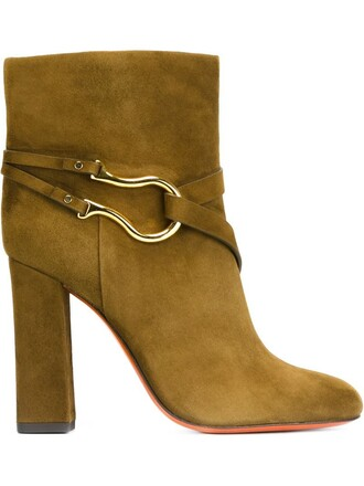 metal women boots ankle boots leather suede green shoes