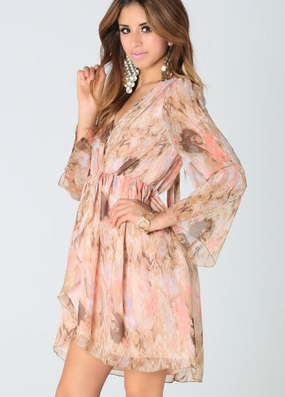 Peach Abstract Floral Print Chiffon Dress