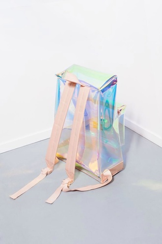bag clear blush straps backpack holographic bag coloful and shiny