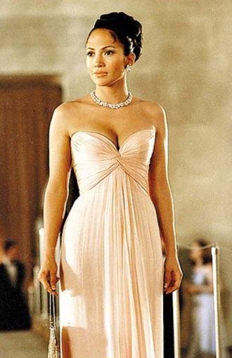 soft pink dress jennifer lopez chiffon dress