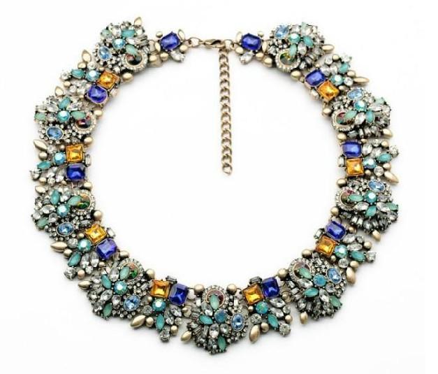 Wholesale luxurious rhinestone flower statement chunky choker necklace