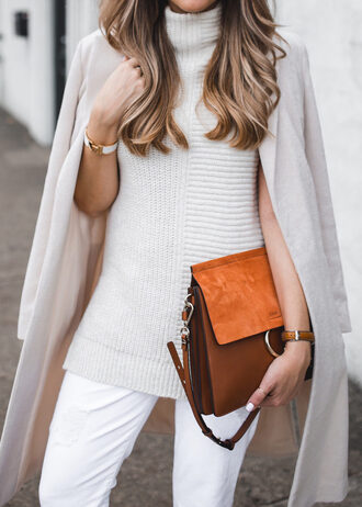 sweater sleeveless turtleneck sweater white sweater turtleneck turtleneck sweater coat white coat bag brown bag pants white pants brunette bracelets jewels jewelry tumblr