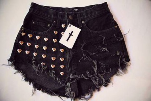 shorts black High waisted shorts cross studs
