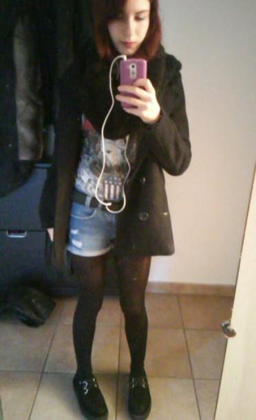 jeans shorts skin, grunge, soft grunge, scarf, dark blue ...