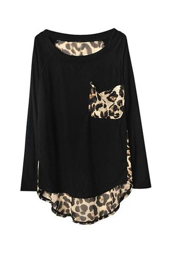 top longsleeve leopard pocket leopard print loose fit