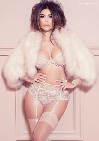 underwear kim kardashian gorgeous lingerie sexy pink fur