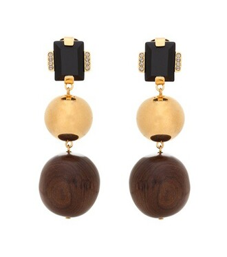 wood earrings brown jewels