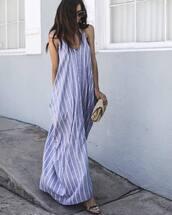 dress,tumblr,maxi dress,long dress,blue dress,stripes,striped dress,bag,sandals,sandal heels,high heel sandals,sunglasses,shoes