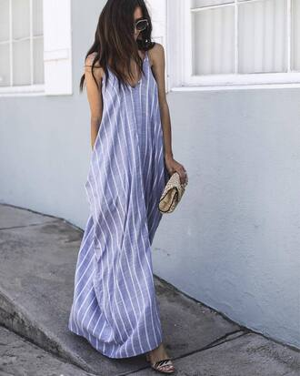 dress tumblr maxi dress long dress blue dress stripes striped dress bag sandals sandal heels high heel sandals sunglasses shoes