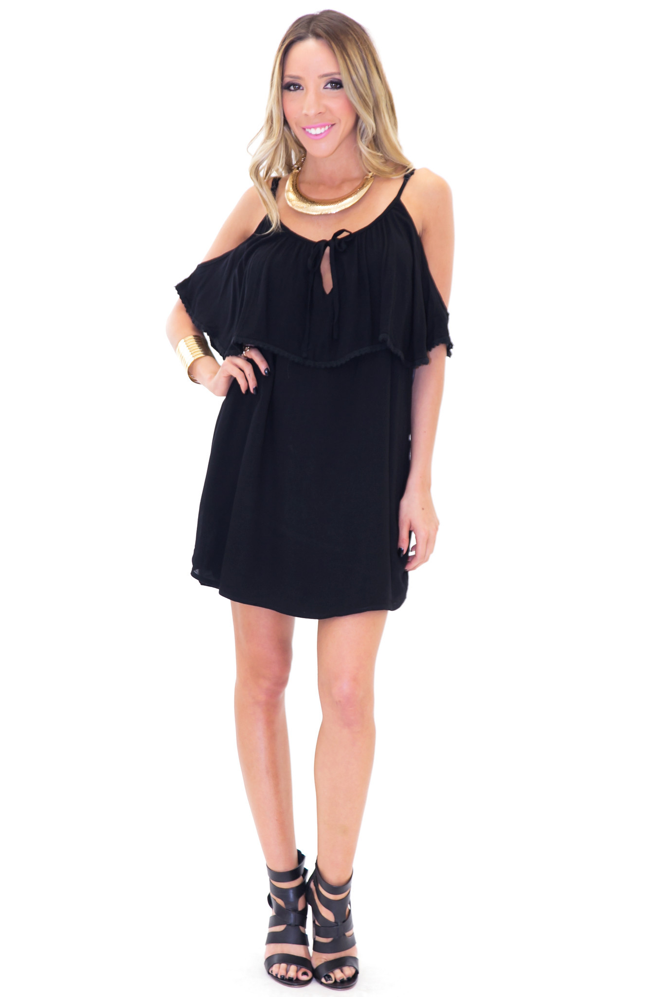 JANA OFF SHOULDER SUN DRESS - Black | Haute & Rebellious
