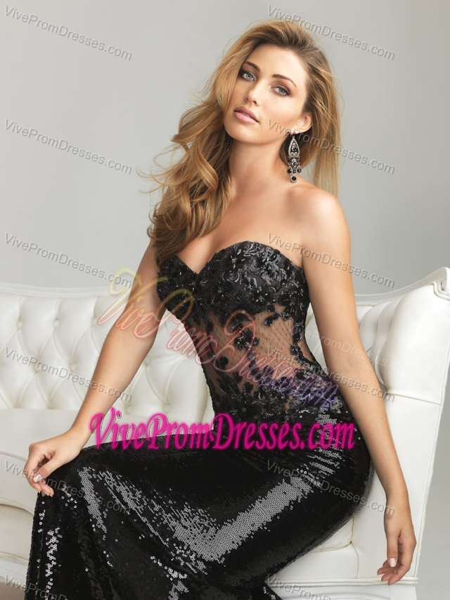 Top Sequined Appliqued Black Prom Celebrity Dress in Seagrove Beach Florida