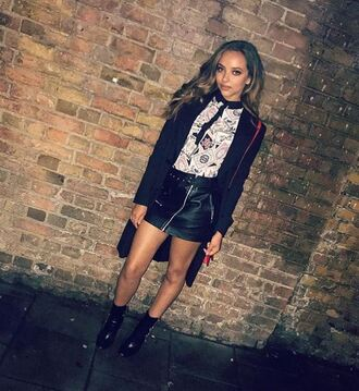 skirt leather skirt leather mini skirt fall outfits jade thirlwall little mix instagram ankle boots top