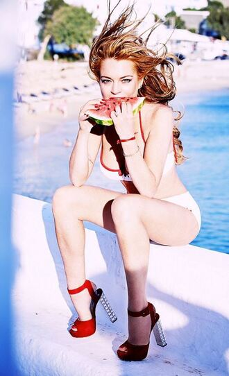 shoes sandals bikini bikini top bikini bottoms lindsay lohan summer beach