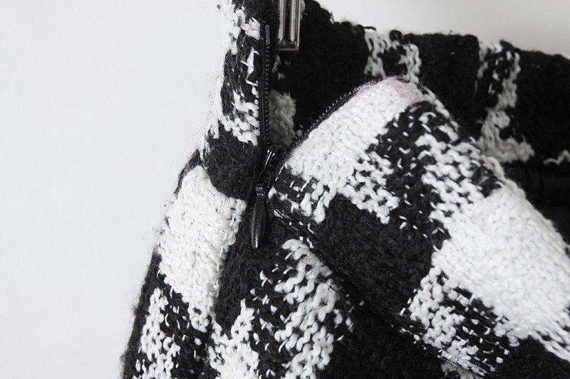 Black White Houndstooth Pleated Skirt - Sheinside.com