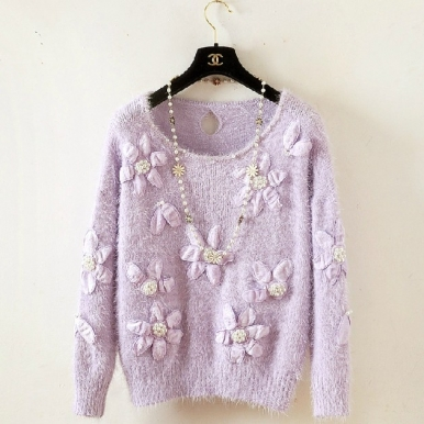 Shiny Rhinestone Stereo Flower Long Sleeve Knit Sweater