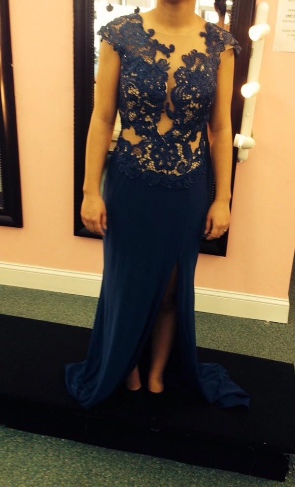 dress long prom dress blue dress