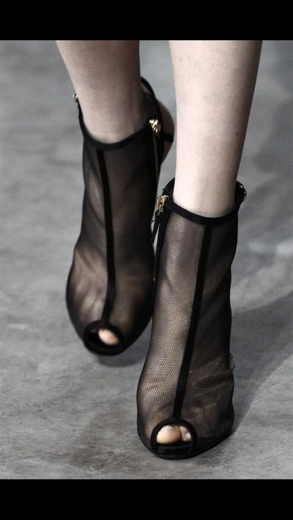 Shoes: black high heels, high heels, peep toe, mesh, see ...
