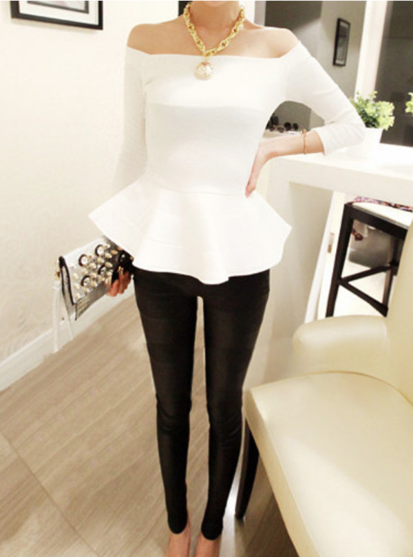 blouse white off the shoulder peplum top