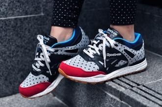 shoes reebok red white grey blue pooka dot black navy