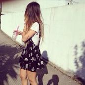 dress,balck dress,black,b&w,print,skirt,pinafore