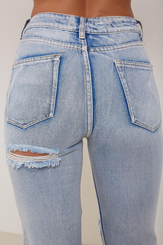 Kim High Waisted Mom Ripped Bum Jeans Blue Lasula