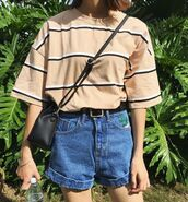 shirt,striped top,yellow shirt,striped shirt,tucked shirt,yellow top,shorts,yellow,stripes,high waisted blue shorts,striped shorts,black and white,top,t-shirt,grunge,vintage,80s style,90s style,alternative,pink,beige,cute,rock,tumblr,high waisted,blouse