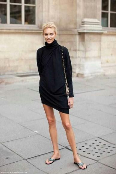 long sleeve dress dress black turtleneck long sleeve wrapped little black dress fall outfits spring spring dress fall dress
