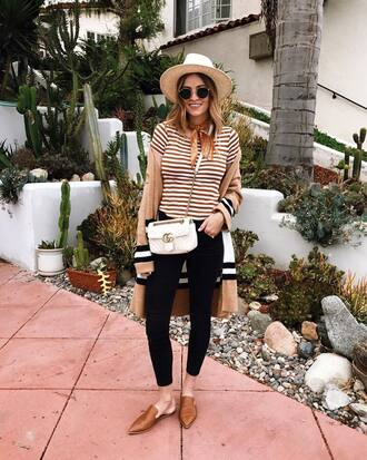 cardigan tumblr nude cardigan shoes nude shoes mules denim jeans black jeans skinny jeans top stripes striped top bag felt hat hat t-shirt