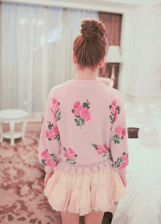 cardigan floral pink pastel skirt roses romantic girly bun