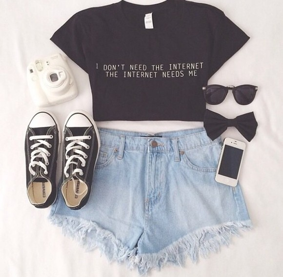 hair bow shirt crop tops t-shirt high waisted short black glasses