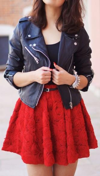 red skater skirt skirt flower skater skirt high waisted skirt