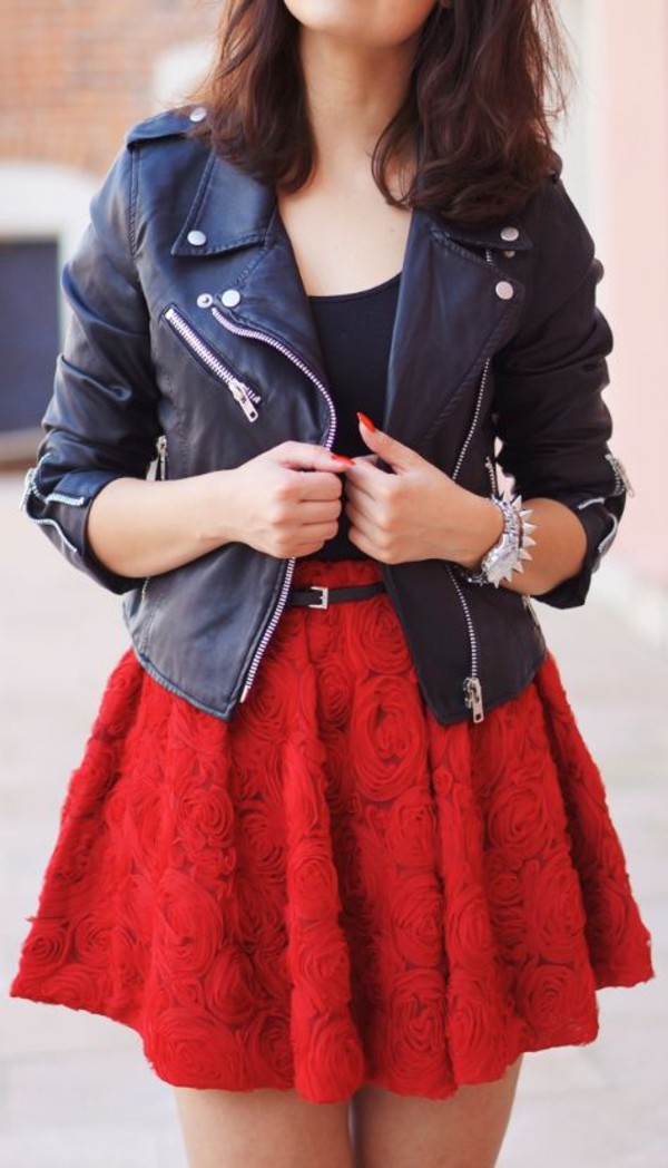 red skater skirt skirt floral skater skirt high waisted skirt jacket