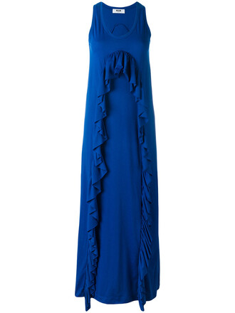 dress ruffle women cotton blue