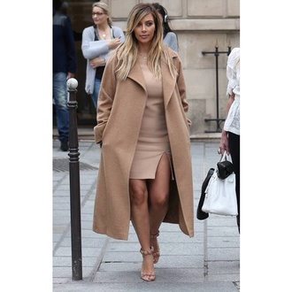 coat kim kardashian camel coat xxl beige coat nude all nude everything beautiful cream camel kardashians