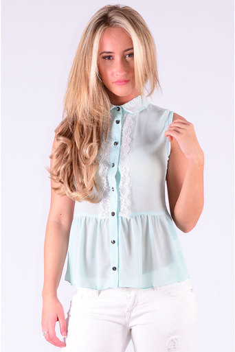 Ladies Noda Sheer Lace Blouse  In Mint at Pop Couture UK