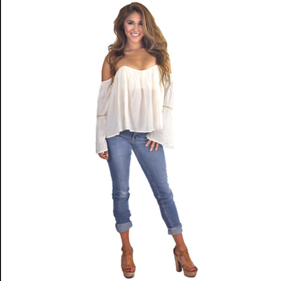 boho gypsy blouse top festival girly white top sexy top casual comfy off shoulder vanessa hudgens