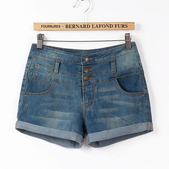3 buttons denim shorts