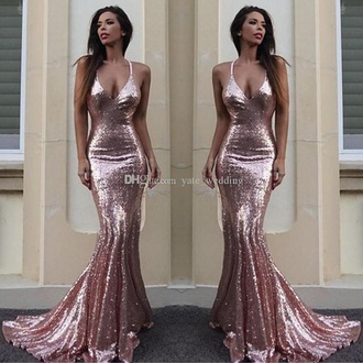 dress sequins rose gold prom prom dress mermaid prom dress mermaid v neck glitter pink pink dress flowy