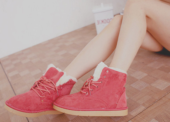 shoes red shoes winter boots ugg boots red tumblr indie boots pink pink shoes coral coral shoes kawaii cute furry