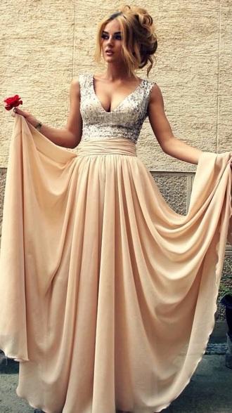 dress beige dress prom dress prom gown long dress v neck chiffon dress