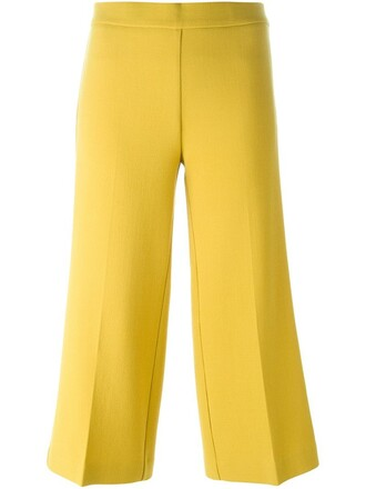 cropped women spandex wool yellow orange pants