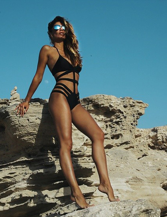 swimwear one piece swimsuit cut-out swimsuit caged swimsuit summer summer outfits summer holidays summer sports monokini black swimwear sunglasses mirrored sunglasses