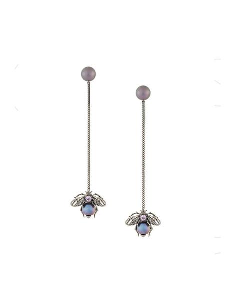 Axenoff Jewellery women bee earrings silver black jewels